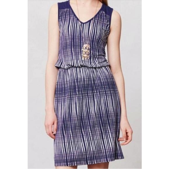 Anthropologie Dresses & Skirts - Deletta Janie Navy Blue White Printed Jersey Dress